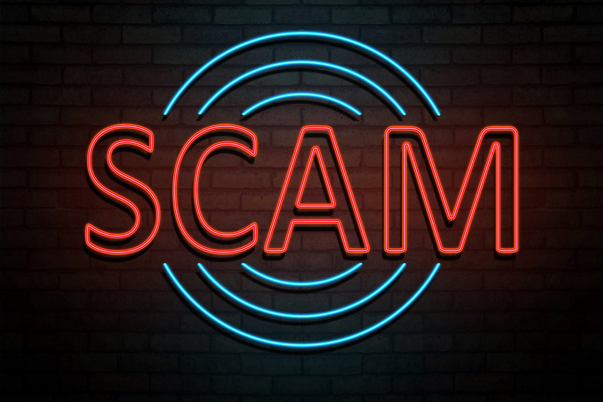 scam neon sign